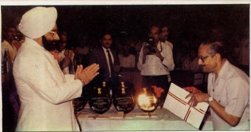 Padamshri Late Dr. J B Banerji, the founder receiving Award from the Then President of India His Exc
