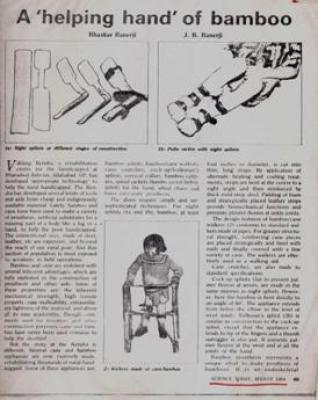 Article in Science Today ,�A helping Hand of Bamboo,� August 1984