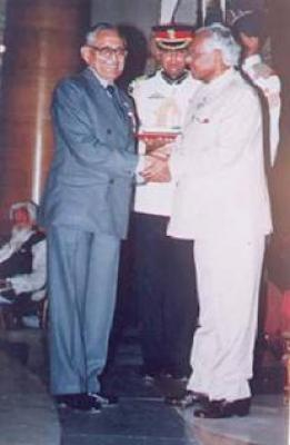His Excellency President of India K. R. Narayan bestowed Dr. J. B. Banerji with Padamshri 2002